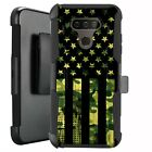 Holster Case for LG Harmony 4/ Premier Pro Plus Phone Cover -GREEN CAMO 1/2 FLAG