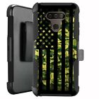 Holster Case for LG Harmony 4/ Premier Pro Plus Phone Cover - GREEN CAMO US FLAG