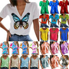 Women Summer V-Neck Short Sleeve T Shirt Blouse Loose Casual Tee Tops Plus Size