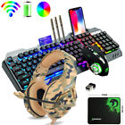 Wireless Gaming Keyboard Mouse and Headset Combo RGB Backlit for PC PS4 Gamers
