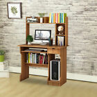 Modern Work Station and Study PC Computer Desk with Hutch Shelf Red Beach Home