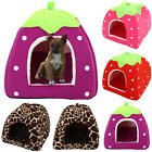 Soft Strawberry Pet Cat Dogs Fleece Washable Igloo Bed Pyramid Cozy Kennel House
