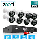 Zoohi CCTV Security System 1080P Outdoor 8CH Wired Home Camera Kit 2TB NVR HDMI