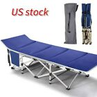 Portable Outdoor Camping Military Folding Bed Cot w/ Carry Bag & Cotton Mattress