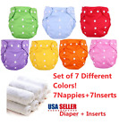 Washable Cloth Diapers Adjustable Reusable Nappies SET 7 Diapers + 7 Inserts 🔥