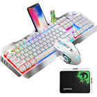 US RGB Wired LED Backlit Gaming Keyboard and Mouse Combo for PC PS4 Knob Contorl