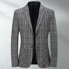 Men's Business Plaid Casual Blazer Non-iron Single-breasted Cropped Suit Jackets