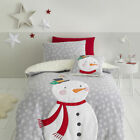 Catherine Lansfield Christmas Cosy Snowman Sherpa Fleece Reverse Duvet Cover Set