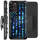 Holster Case For Galaxy Note20/ Note20 Ultra 5G Phone Cover - BLUE CAMO US FLAG