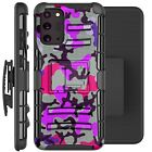 Holster Case For Galaxy Note20/Note 20 Ultra 5G Phone Cover- PURPLE STYLISH CAMO