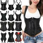Black Gothic Bustier Corset Top Black Waist Trainer Basque Overbust Steampunk