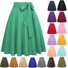 New Womens Solid Color High Waist Self-Tie Bow-Knot Embellished  A-Line Skirt