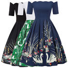 BP Retro Vintage 1/2 Sleeve Off Shoulder Cotton Patchwork Party Picnic Dress