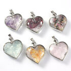 Natural Healing Stone Chips Crystal Quartz Faceted Heart Wishing Bottle Pendant