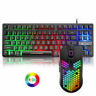 Wired 87 Keys Gaming Keyboard and Mouse Sets Rainbow Backlit For PC Laptop PS4