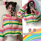 Lady Rainbow Striped Sweaters Top Knitted Hooded Short Loose Outwear Cute Casual
