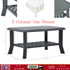 Plastic Garden Coffee Table With Storage Shelf  Patio End Table Side Desk Light