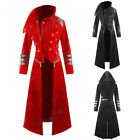 Men Hooded Steampunk Trench Coat Long Jacket Gothic Overcoat Cosplay Costume