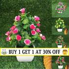 Realistic Artificial Potted Rose Flowers Plants In Pot Outdoor Home Garden Decor