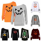 Womens Halloween Pumpkin Long Sleeve T-shirt Tops Fancy Dress Pullover Blouses