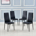 Modern Small Dining Table Set 4 PU Leather Chairs & Tempered Glass Table Kitchen