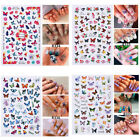 Uk - 3d Butterfly Flower Pink Nail Stickers Diy Manicure Nail Art Decals Decors.