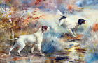 FRAMED CANVAS ART PRINT PAINTING POINTERS BIRD HUNTING DOGS FIELD SPORT