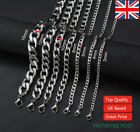 """Mens Boys Curb Chain 18""""-26"""" 3 4 6 8 9 MM Stainless Silver Plated Cuban Necklace"""
