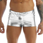 US Men's Shiny Patent Leather Boxers Shorts Drawstring Swimsuit Trunks Underwear