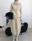 Women 95 Cashmere Knitted Sweater High Waist Skirt 2Pcs Thicken Warm Sets Zha19