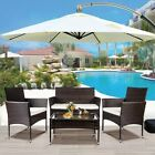 Outdoor 4pcs Patio Ratten Garden Furniture Set Table Chair Sofa Cushion 2 Color
