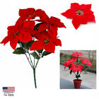 Artificial Poinsettia Flower Fake Floral Home Party Event Floral Decor Us