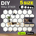 12/24x Diy Wall Stickers Decals Mirror Hexagon Removable Acrylic Art Home Decor