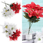 7 Heads Real Touch Flannel Artificial Christmas Flowers Red Poinsettia Bushes