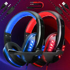 Gaming Headset LED Wired Stereo Bass Surround for PS4 New Xbox One PC with Mic