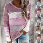Womens Long-Sleeve Knitted Hooded Patchwork Loose Pullover Jumper Blouse Shirts