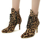 Women's Ankle Boots Lace Up Stiletto High Heel Zipper Clubwear Booties Shoes
