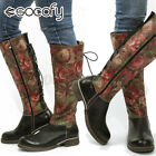 SOCOFY Womens Retro Elegant Leather Knee High Boots Casual Combat Shoes Printe
