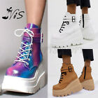 Women Ladies High Top Platform Ankle Boots Heighten Shoes Wedge Lace Up Sneaker