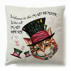 "18"" Alice In Wonderland Cushion Cover Cotton Linen Square Sofa Waist Pillow Case"