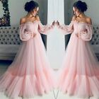 Women's Bell Sleeve Long Mesh Maxi Dress Off Shoulder Wedding Evening Ball Gown