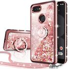 For Google Pixel 3/3 XL Case Glitter Liquid Protective Phone Cover + Ring Stand