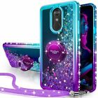 For LG Stylus 3/Stylo 3 Plus Case Bling Glitter Liquid Phone Cover + Ring Stand