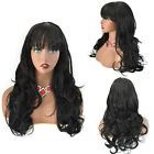 US Long Wavy Machine Made Wig for Women Premium Synthetic Black Brown Party Hair