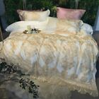 4Pcs Golden embroidery Princess Bedding Sets King/Queen Size Bed Egyptian Cotton