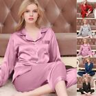 2pcs Women's Soft Pajamas Set Long Sleeve Button-Down Sleepwear Gown Loungewear