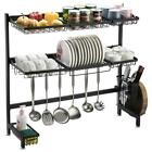 Over The Sink Dish Bowl Drying Rack Steel Kitchen Cutlery Holder Shelf Home Use
