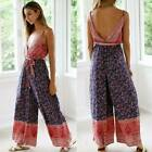 Women Boho Backless Jumpsuit Strappy Wide Leg Playsuit Summer Holiday Beach Tops