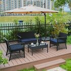 4pc Furniture Wicker Rattan Patio Outdoor Conversation Sofa Set Garden Table