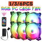 1/3/6 PACK RGB LED Quiet Computer Case PC Cooling Fan 120mm With Remote Control